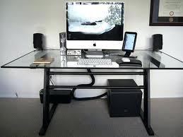 computer desks modern glass computer desk home office top keyboard shelf dark brown wooden leg