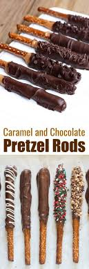 caramel and chocolate dipped pretzel rods make the best holiday treat and gift for neighbors