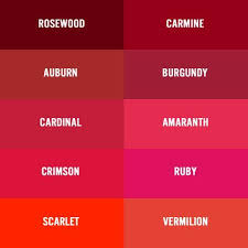 Red Color Chart There Are Several Names For Burgundy Wine Maroon Crimson