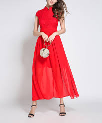 Laklook Red Mandarin Collar Sheer Overlay Midi Dress Zulily