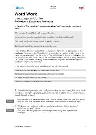 Reflexive and Emphatic Pronouns 7th Grade Worksheet | Lesson Planet