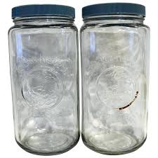 golden harvest clear glass canisters tall blue lids pair jar with metal lid