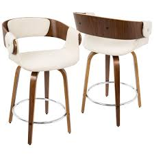 cream counter stools.  Cream Lumisource Eliza Walnut And Cream MidCentury Modern Counter Stool In Stools