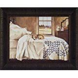 Home Alone By John Rossini 17x21 Dog Beagle Puppy Sleeping On Bed Bedroom  Framed Art Print