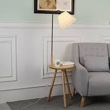 <b>Nordic modern solid</b> wood&cotton fabric lampshade floor lamp E27 ...