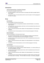 writing the five paragraph essay s handout