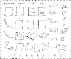手描き ノート メモ用紙 セット イラスト素材 5362240 フォト