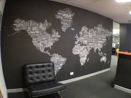 office wallpaper ideas. Ideas Collection Stylish World Map Wallpaper Also Worldtextmap White Black Installed In Office