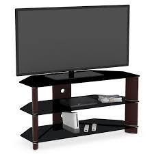 modern corner tv stand. black glass corner media cabinet with open shelf and tv stand. alluring modern tv stand