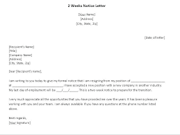 2 Week Notice Letter For Work Two Weeks Notice Sample Resignation Letter From Advertising