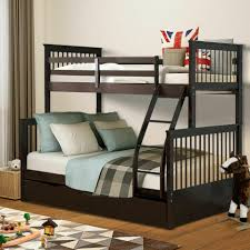 details about kids bunk bed twin over full solid wood wooden bunk beds w storage drawers