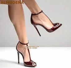 <b>ALMUDENA</b> Ladies Charming <b>Nude</b> Black Patent Leather Dress ...
