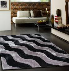 Inexpensive Rugs For Living Room Contemporary Living Room With Black Silver Wave Geometric Area Rug