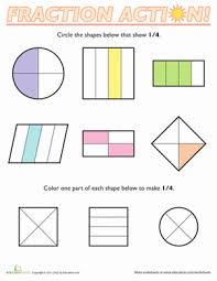 Fractions of Shapes: 1/4 | Worksheet | Education.comFirst Grade Fractions Worksheets: Fractions of Shapes: 1/4