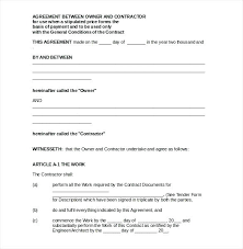 Agreement Format For Contract Work – Globalhood.org