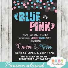Gender Reveal Invitation Templates Pink Or Blue Baby Footprints Gender Reveal Invitations D375
