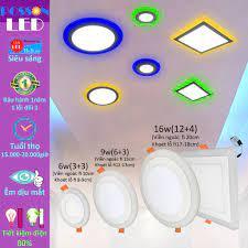 Đèn Led âm trần 3w 6w 9w 12w 16w siêu mỏng 2 màu 3 chế độ tròn hoặc vuông  Posson LP-RSix+x