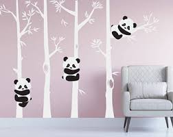 Nursery Panda Bear Bamboo Tree Wall Nursery Decal Art Forest Kids Room  White Birch Stickers Custom