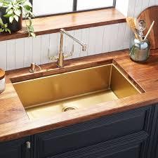 32 Atlas Stainless Steel Undermount Kitchen Sink Matte Gold Kitchen