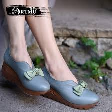 <b>Artmu original</b> butterfly knot wedges heels women shoes genuine ...