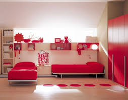 modern twin bed. Creative Wall Decor With Sleek Platform Twin Beds For Modern Bedroom Decorating Ideas Using Red Wardrobe Bed