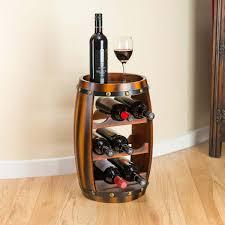 wooden barrel wine rack wood bottle holder table top 8 bottles christow h50cm