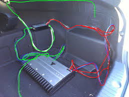 how to aftermarket subwoofer amp hyundai forums hyundai forum final install highlighting power wire routing red and audio signal routing green