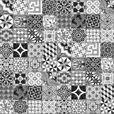 Black And White Pattern Tile Unique Tile Effect Wallpaper And Wall Murals Mr Perswall