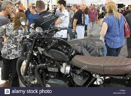 triumph bonneville t120 black on display at the sydney motorcycle
