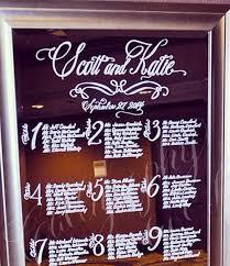 Calligraphy Wedding Seating Chart Wedding Mirror Seating Chart Ideas