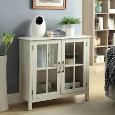 olivia white accent cabinet and 2 glass doors
