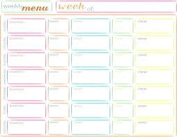 Babies Menu Planner Free Printable Weekly Menu Template World Of Templates Meal Planner