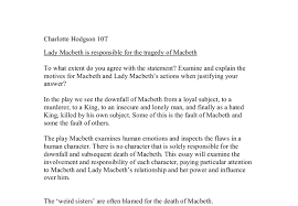 lady macbeth is responsible for the tragedy of macbeth gcse document image preview