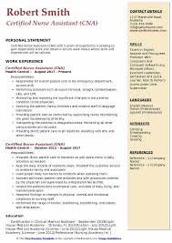 Duties And Responsibilities Of A Cna Certified Nurse Assistant Resume Samples Qwikresume