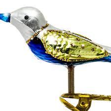 Sikora Bs193 Christbaumschmuck Glas Ornament Clip Vogel Mit Federn Weiss Grün L10cm