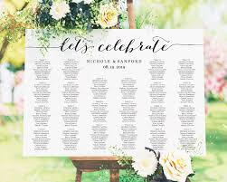 Standard Seating Chart Size Lets Celebrate Diy Seating Chart Wedding Templates And