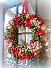 DIY Christmas Wreath made from ribbon bows all stuck to a straw or  styrofoam base -