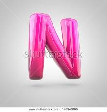 stock photo glossy red and pink gra nt paint alphabet letter n uppercase d render of bubble twisted font