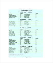 Word Restaurant Menu Templates Photography Price List Template Word New Catering Menu Templates