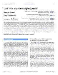 Esi Lighting Minneapolis Pdf Cues To An Equivalent Lighting Model