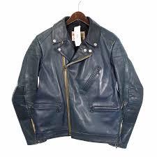 40 アディクトクローズ addict clothes double hose leather riders jacket size men dark green rank a 101 52a18