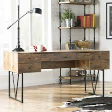 rustic modern writing desk with drawers