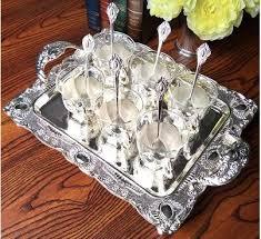 Decorative Glass Trays 100pcs Set Metal Coffee Cups Silver Tray Decorative Metal Trays 49