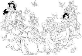 coloring page disney coloring pages with characters free coloring page of all the disney princesses