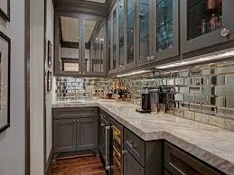 galley kitchen makeover brick backsplash galley kitchen with shiny mirror metal backsplash