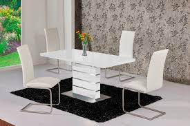 high dinner table set extending black glass gloss dining and cream