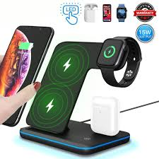 3 in 1 Wireless Charger,15W/<b>10W Qi Fast Wireless</b> Charger Stand ...