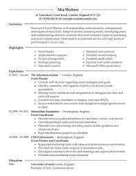 Resume Complete Event Planner Resume Sample Complete Guide Examples