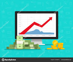 Computer With Stocks Graphs And Money Vector Illustration