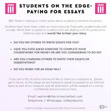 amy walker amyrwalker twitter  essay writing services at university for a bbc three series you can be anonymous please message me or warren info on flyer if you d like to share